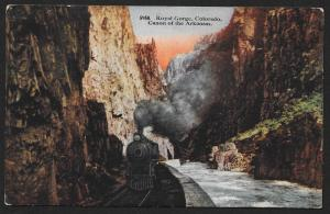 Railroad & Train Within Royal Gorge Colorado Unused c1910s