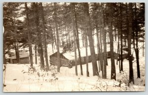 Eau Claire Wisconsin~Historical Society~Log Cabins in Deep Snow~Woods~1920s RPPC
