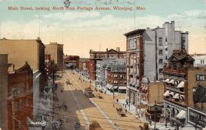 Winnipeg Manitoba~Main Street From Portage Avenue~Trolley~Stores~1911 Postcard