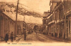 Syria Damas Le Boulevard Salhieh Street Vintage Car Tram Mountain Postcard