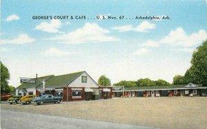 Arkadelphia Arkansas Autos George's Ct Cafe roadside 1940s Postcard Kropp 5966