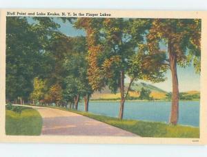 Linen ROAD ALONG THE LAKE Keuka Lake - Hammondsport & Penn Yan NY F3624