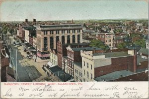 Aerial View of Hamilton Street Looking West Allentown PA Vintage Postcard