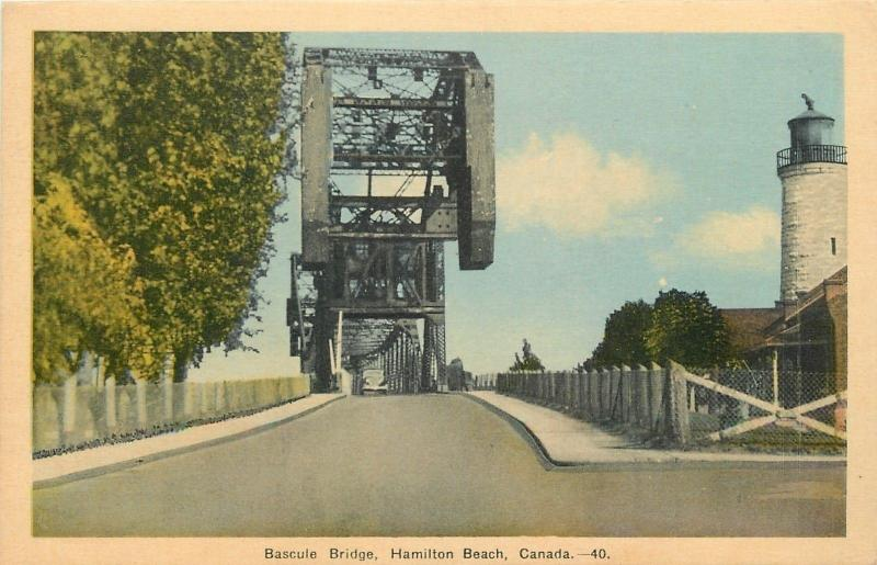 Hamilton Beach Canada~On Road Through Bascule Bridge~Lighthouse~1939 Postcard