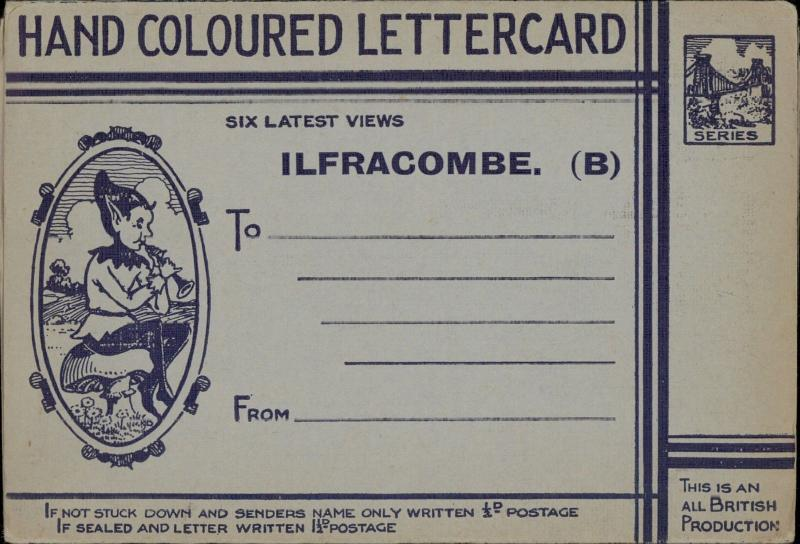 hand coloured letter card Ilfracombe UK