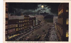Main Street, North From Buchtel Hotel, By Night, AKRON, Ohio, PU-1921