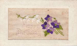Embroidered White & Purple Flowers,  Happy Birthday, 1900-1910s