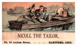 13225   Trade Card  Cat eating Picnic lunch  CT  Hartford  Nicoll the Tailor