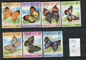 265124 Laos 1986 year used stamps set butterflies