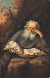 US3567 Der Eremit Salomon Koninck, Old Man reading Book Postcard stengel