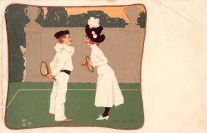Vintage Fashion Boy Girl, Young Man and Lady Woman Tennis, Postcard 1902