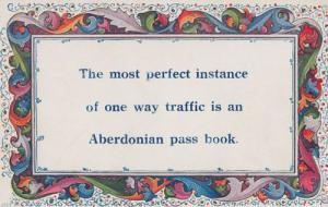 One Way Traffic Aberdonian Antique Poetry Poem Postcard
