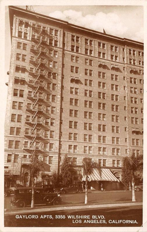Los Angeles Gaylord Apartments~Renaissance Revival~Fire Escapes 1930s Sepia  RPPC