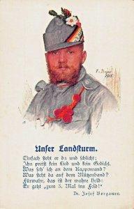 AUSTRIA - WW I - UNTER LANDSTURM~T DREGER KUNSTLER ARTIST DRAWN 1915 POSTCARD