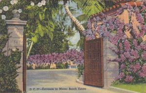 Entrance To a Miami Beach Estate Miami Beach Florida 1950 Curteich