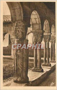 Postcard Old Saint Bertrand de Comminges Pillar Four Evangelists and Cloitre