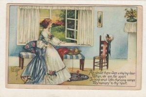 AS: Woman looking out open window, Bonnet, Poem, PU-1915