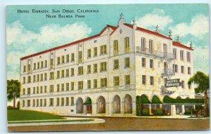 Hotel Embassy 3645 Park Boulevard San Diego California CA Vintage Postcard E11