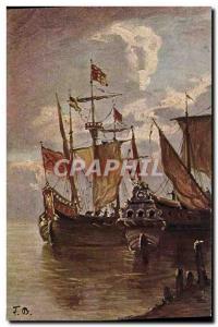 Old Postcard Fantasy Boat