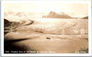 1930s H.W. Steward Photo RPPC Postcard Airplane View SS Alaska Columbia Glacier