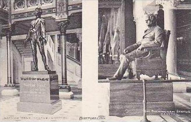 Connecticut Hartford Nathan Hale Statue Capitol Albertype