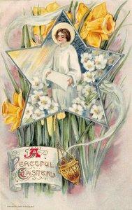 LP42 Easter Postcard Schmucker Artist Winsch Publisher Angel Lillies Daffodils