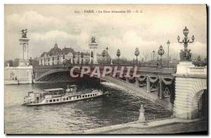 Old Postcard Paris Alexandre III bridge boat Peniche