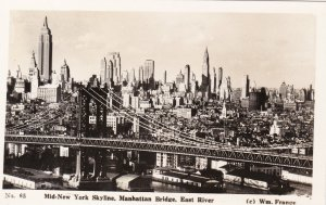 New York City Mid-Town Skyline Manhattan Bridge and East River Real Photo