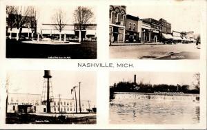 Nashville Michigan~Multi View~Central Park~Lentz Table Co~Bakery~Dam~1930s RPPC