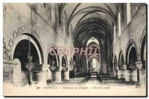 Old Postcard From Etretat Inside I & # 39Eglise Church