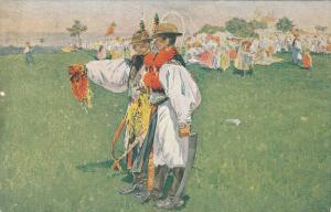 Men in traditional costume at a fair, PU-1916