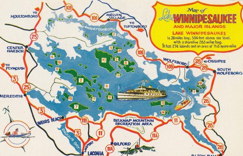 Map Of Lake Winnipesaukee New Hampshire Postcard