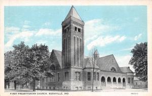 Rushville Indiana~First Presbyterian Church~Blue Sky~Arch Windows~Postcard c1911