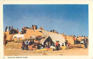 Linen Card of Navajo Indian Camp Window Rock Arizona AZ