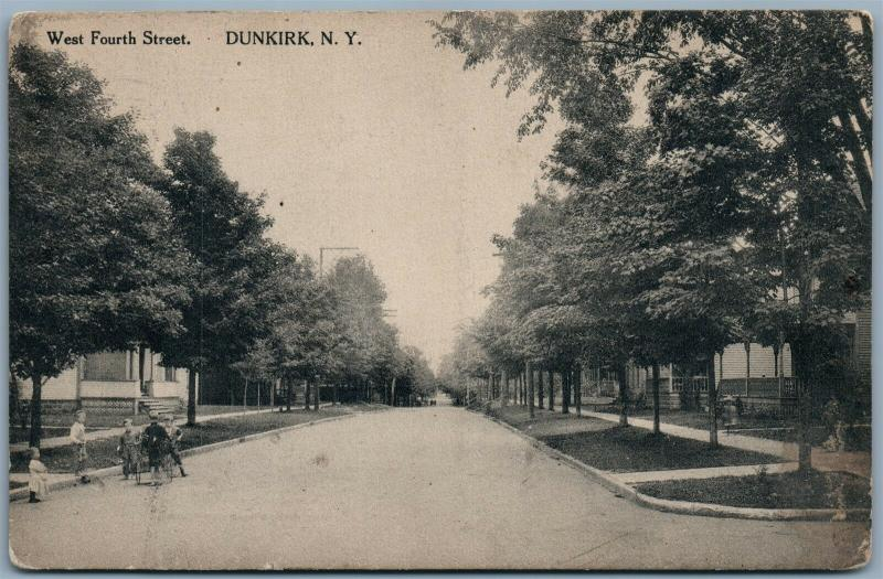 DUNKIRK NY WEST FOURTH STREET 1917 ANTIQUE POSTCARD