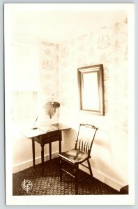 Rumney Village NH~Mary Baker Eddy Historical House~Chair & Desk RPPC 1930s? PC