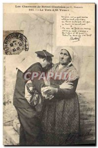 Old Postcard Folklore songs of Botrel Botrel illustrees The wish St Yves