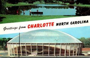 North Carolina Charlotte Greetings Showing Fishing In Freedom Park & Municipa...