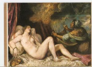 Postal 025315 : Danae recibiendo la Lluvia de Oro. Tiziano. Museo del Prado