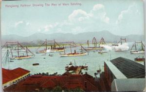 Hong Kong Harbour Showing Men of Wars Saluting China Ships Unused Postcard E44