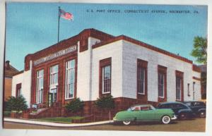 P1158 vintage postcard flag old cars post office connecticut ave rochester penn