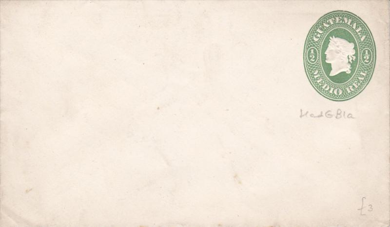 Guatemala cover , 1880s ; 1/2 Real - green