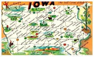 Iowa  GREETINGS  Map