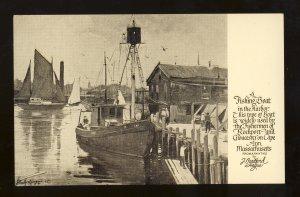 Cape Ann, Massachusetts Postcard, Gloucester/Rockport, J Bradford Hague Painting