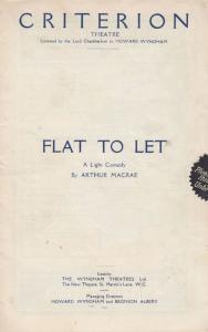 Flat To Let Lilian Braithwaite Ann Todd Comedy Criterion London Theatre Progr...