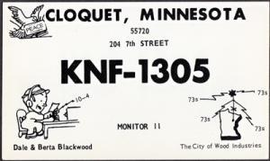 CLOQUET Minnesota - QSL CARD / KNF 1305 - Dale Blackwood / 1960s era