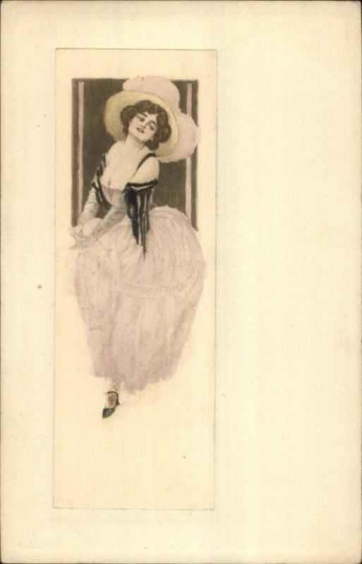 Beautiful Woman Low-Cut Dress Sleeves Hat c1910 Hand Colored Postcard