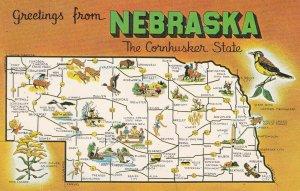 NEBRASKA State Outline, Map, 1950-1960s