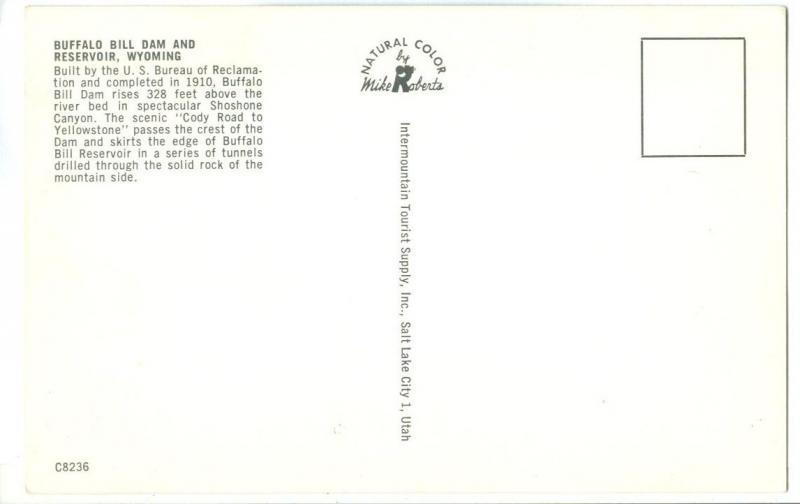 USA, Buffalo Bill Dam and Reservoir, Wyoming, unused Postcard