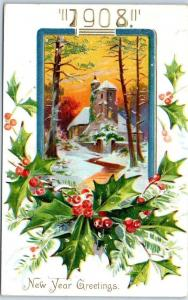 1908 HAPPY NEW YEAR Embossed Postcard Winter Church Scene / Holly TUCK'S Srs 113